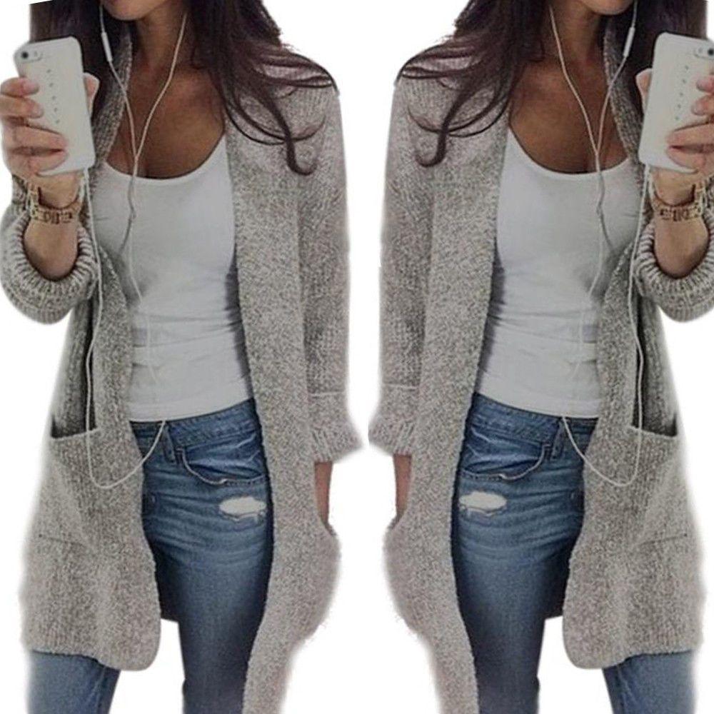 Women/'s Loose Cardigan Sweater Long Sleeve Knitted Outwear Cardigan Jacket Coat