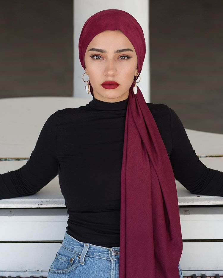 """Photo of CULTURE Hijab Co. on Instagram: """"Suede mood today🍁 @indoanisa in Burgundy + Essential High Neck Top @sarahkrickphotography  #suedebyculture #suedemood #fallthings…"""""""
