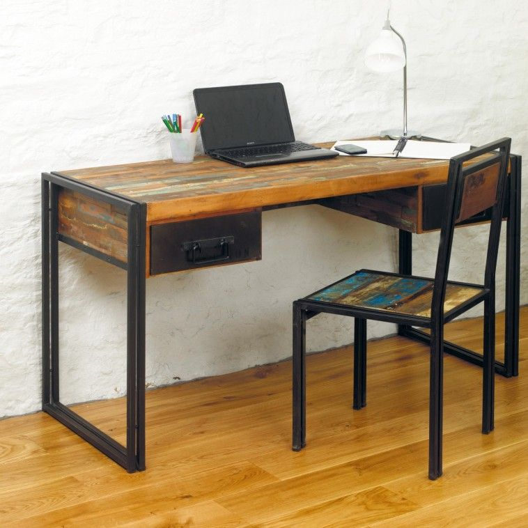 Furniture Fancy Design Of The Reclaimed Wood Desk With Rectangular Accent Of The Countertop Square Black Metal Legs Idea Classic And Vintage Look From Collec