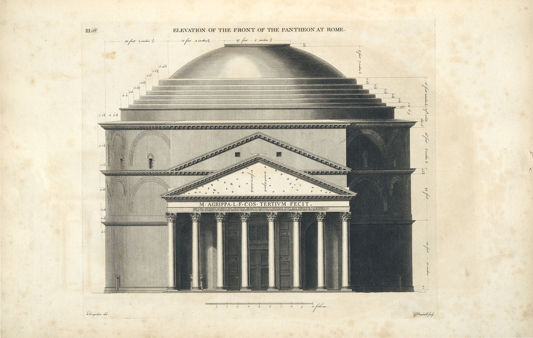 Front Elevation Antiques : Elevation front pantheon rome italy section