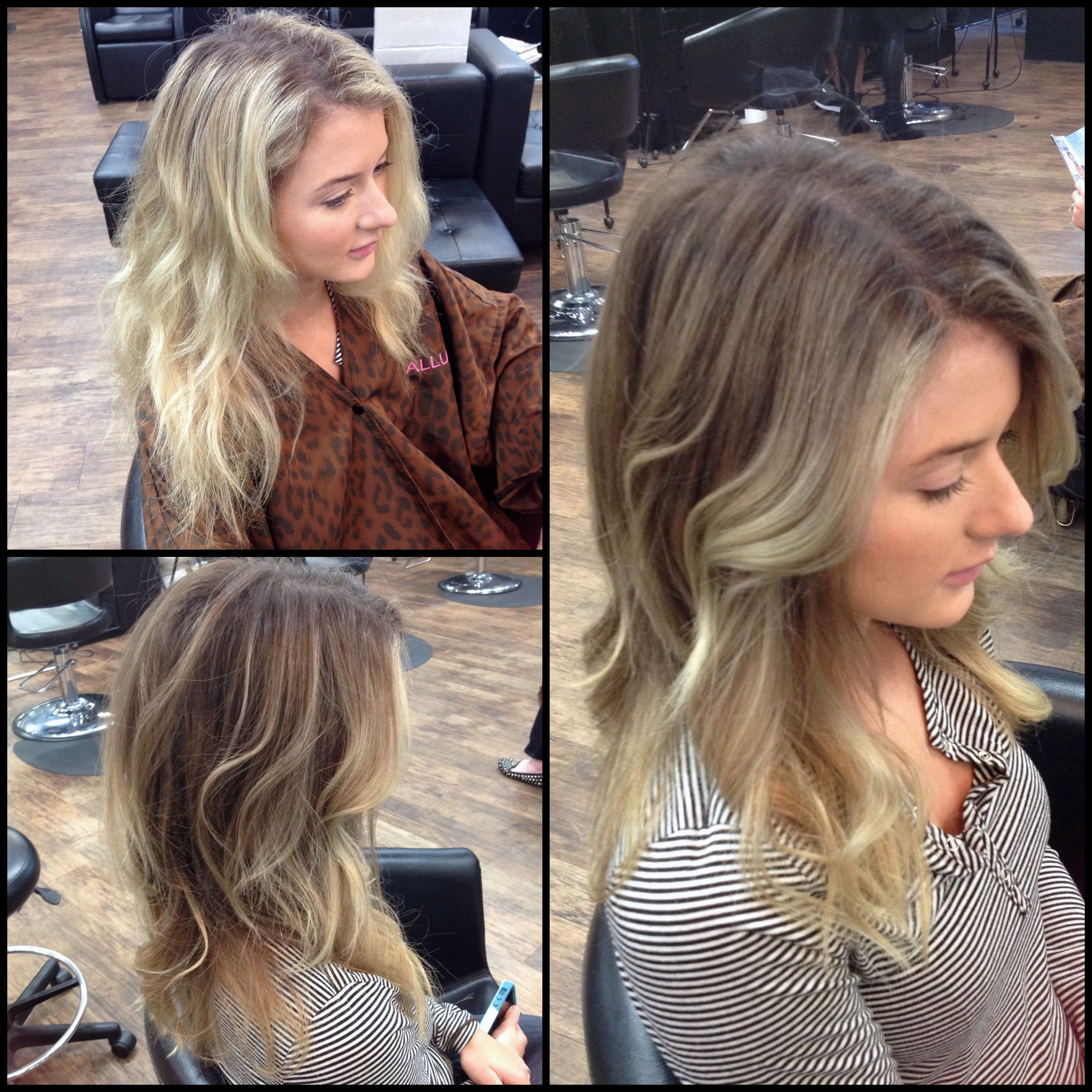 Before After Washed Out Bleach Blonde To Rich Dimensional Dark Blonde And Blonde Balayage Dark Blonde Hair Bleach Blonde Dark Blonde Balayage