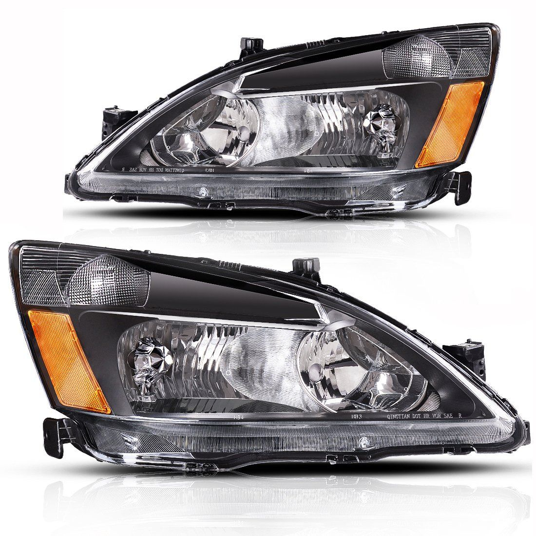 Autosaver88 For 2003 2004 2005 2006 2007 Honda Accord Headlight Assembly Oe Headlamp Replacement Amber Reflector Black Ho Honda Accord Headlight Assembly Honda
