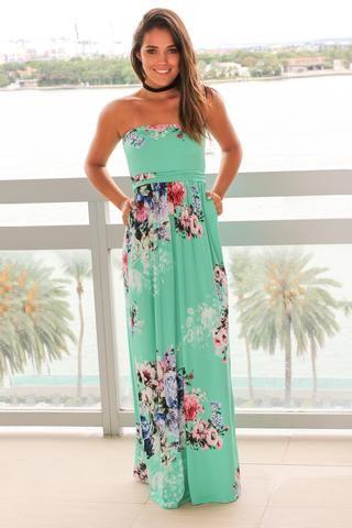 f5b2a2ec8b8 Mint and Pink Floral Strapless Maxi Dress