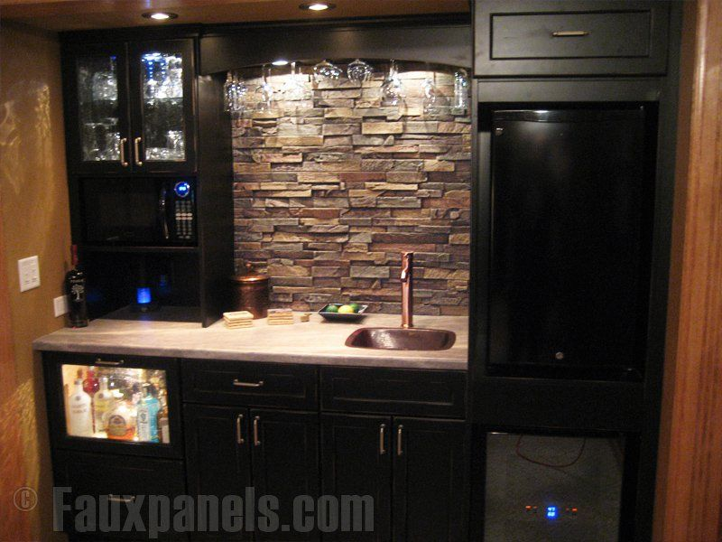The Dry Stack Stone Backsplash Brings Contrast To This Perfectly Designed Kitchenette Bars