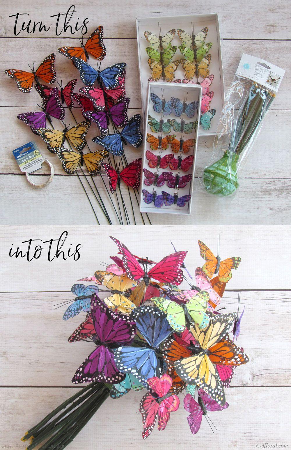 Butterfly Bouquet Diy wedding flowers, Cheap wedding