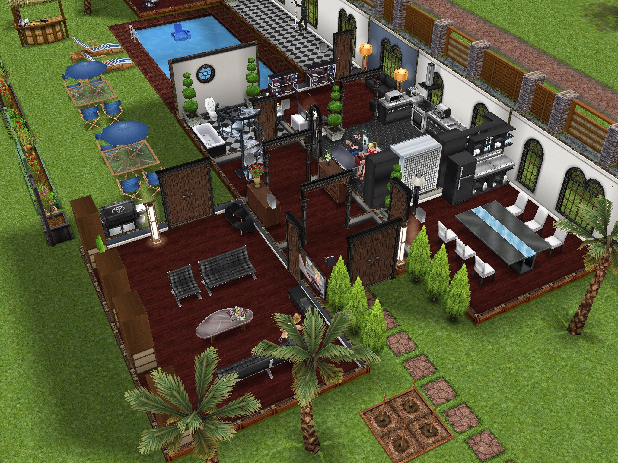 General House/Backyard/Pool design Idea | Sims Freeplay House ...