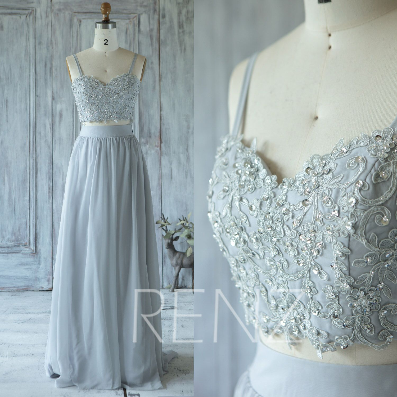 Party Dress Medium Gray Bridesmaid Dress Wedding Dress Beaded | Etsy