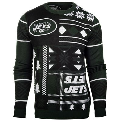 reputable site eaea4 f595c New York Jets Patches Crewneck UGLY Sweater   NY JETS FAN ...