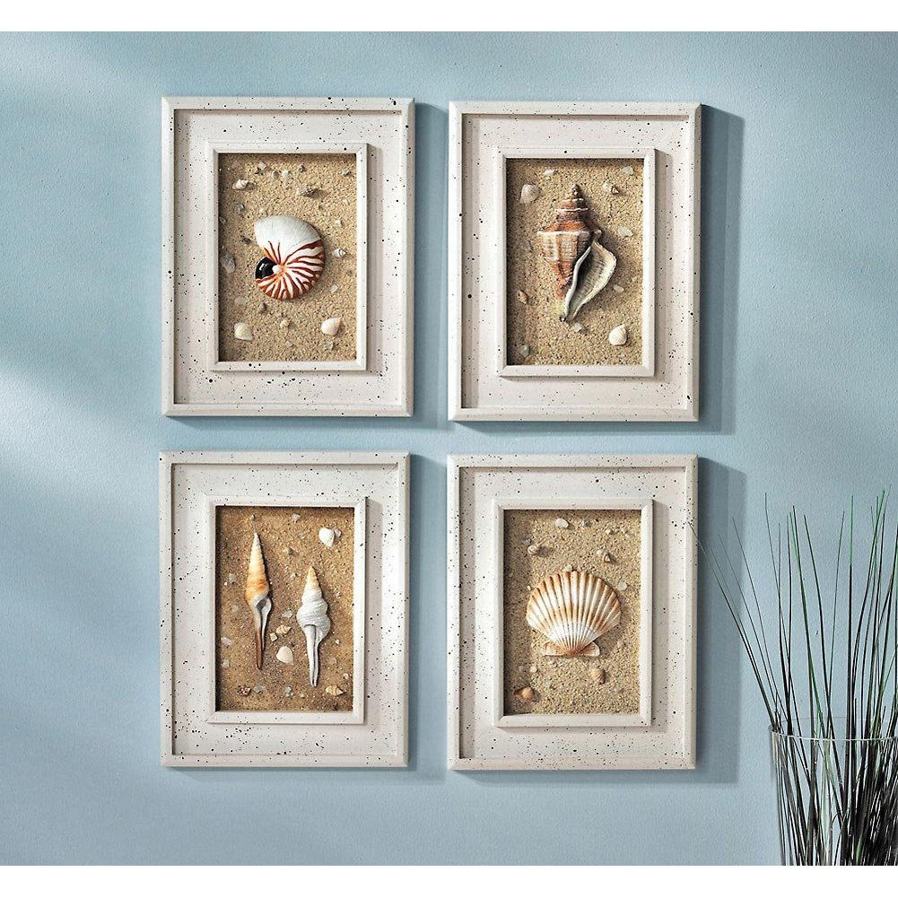 blue seaside bathroom help. Framed Seashells Coastal Beach Wall Art ...