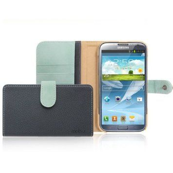 Amazon.com: Mobc Samsung Galaxy Note 2 / N7100 Leather Wallet Case Basic Book Collection - Two Tone Leather Diary - Screen Protector Included - Retail Packaging - Blue: Cell Phones & Accessories