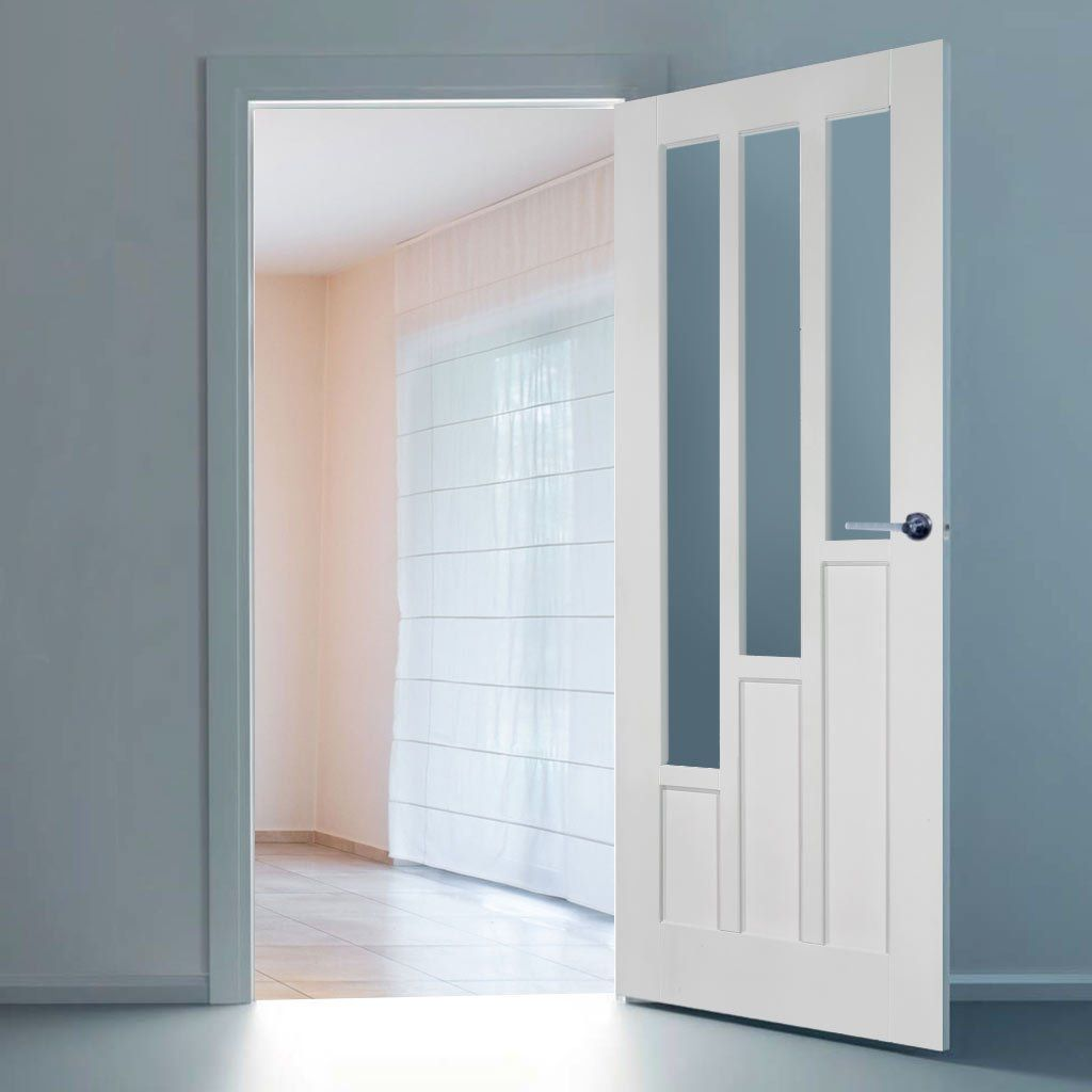 Coventry Style White Primed Door with Clear Safety Glass & Coventry Style White Primed Door with Clear Safety Glass   Safety ...