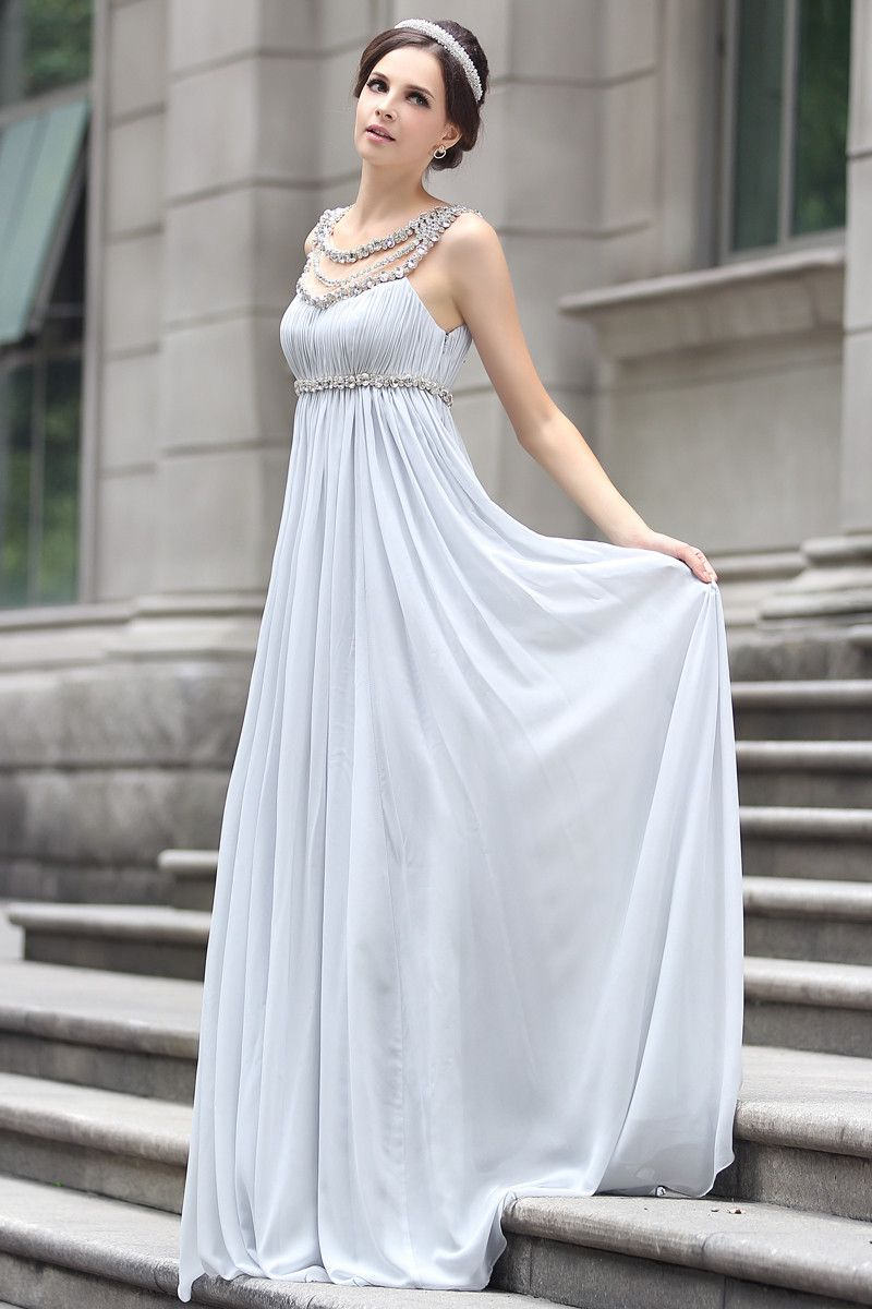 1df882e5e01d Grecian Goddess Empire Waist Gray Formal Prom Evening Dress | ~My ...