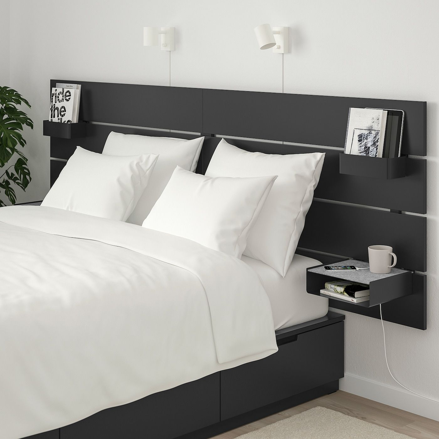 Nordli Bed With Headboard And Storage Anthracite Queen Ikea