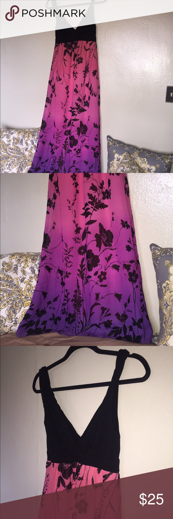Maxi dress Black top is made out of spandex and bottom is a beautiful pink and purple ombré made of chiffon with black flower print. Maxi dress is fully lined and doesn't have a zipper. Forever 21 Dresses Maxi