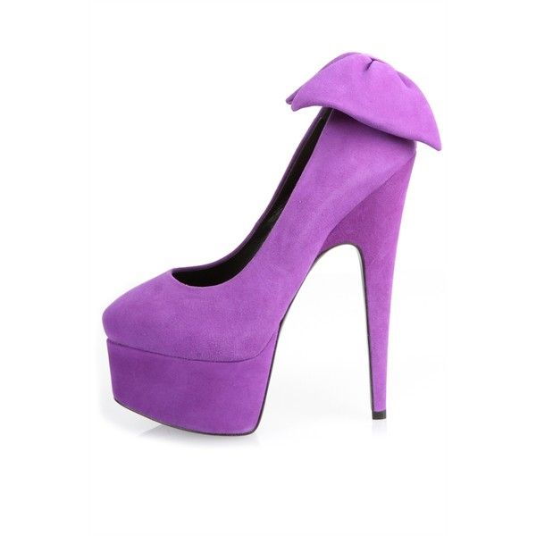 Giuseppe Zanotti Debra Bow Platform Pumps (355 AUD) ❤ liked on Polyvore featuring shoes, pumps, heels, high heel platform shoes, leather pumps, purple platform pumps, purple pumps and high heel pumps