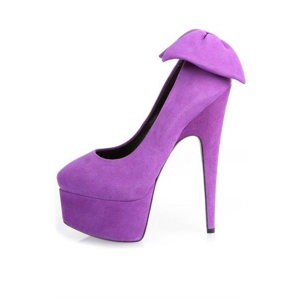 Giuseppe Zanotti Debra Bow Platform Pumps (355 AUD) ❤ liked on Polyvore featuring shoes, pumps, heels, high heel platform shoes, leather pumps, purple platform pumps, purple pumps and high heel pumps