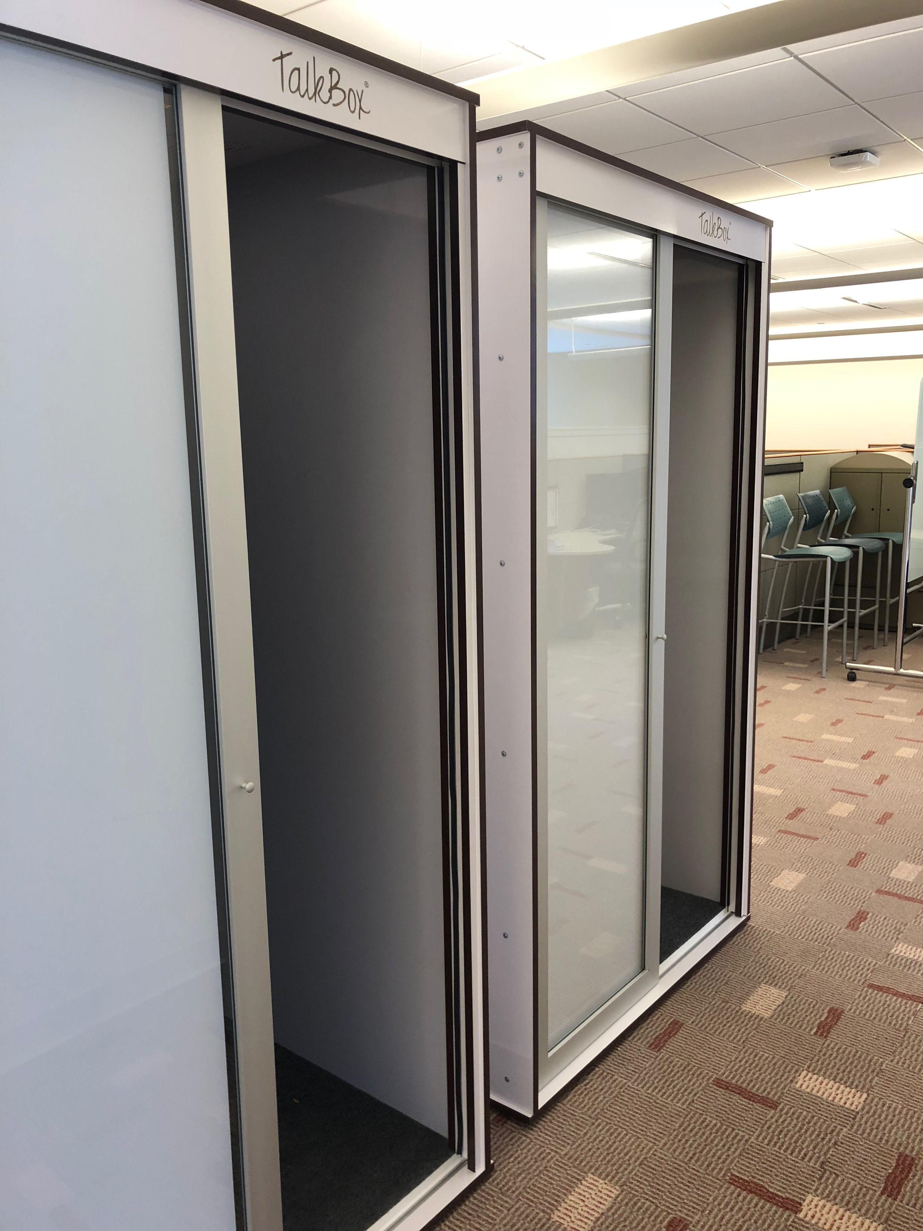 Two White Single Premium Talkbox Booths At Zenuity Office Privacy Open Office Booth