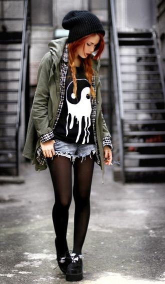 Geliebte jacket punk rock punk rock black tights ska skater skater girl @SW_04