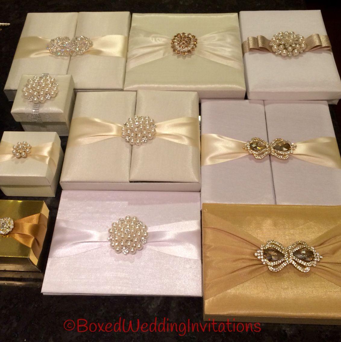 Beautiful wedding invitation boxes in white Ivory