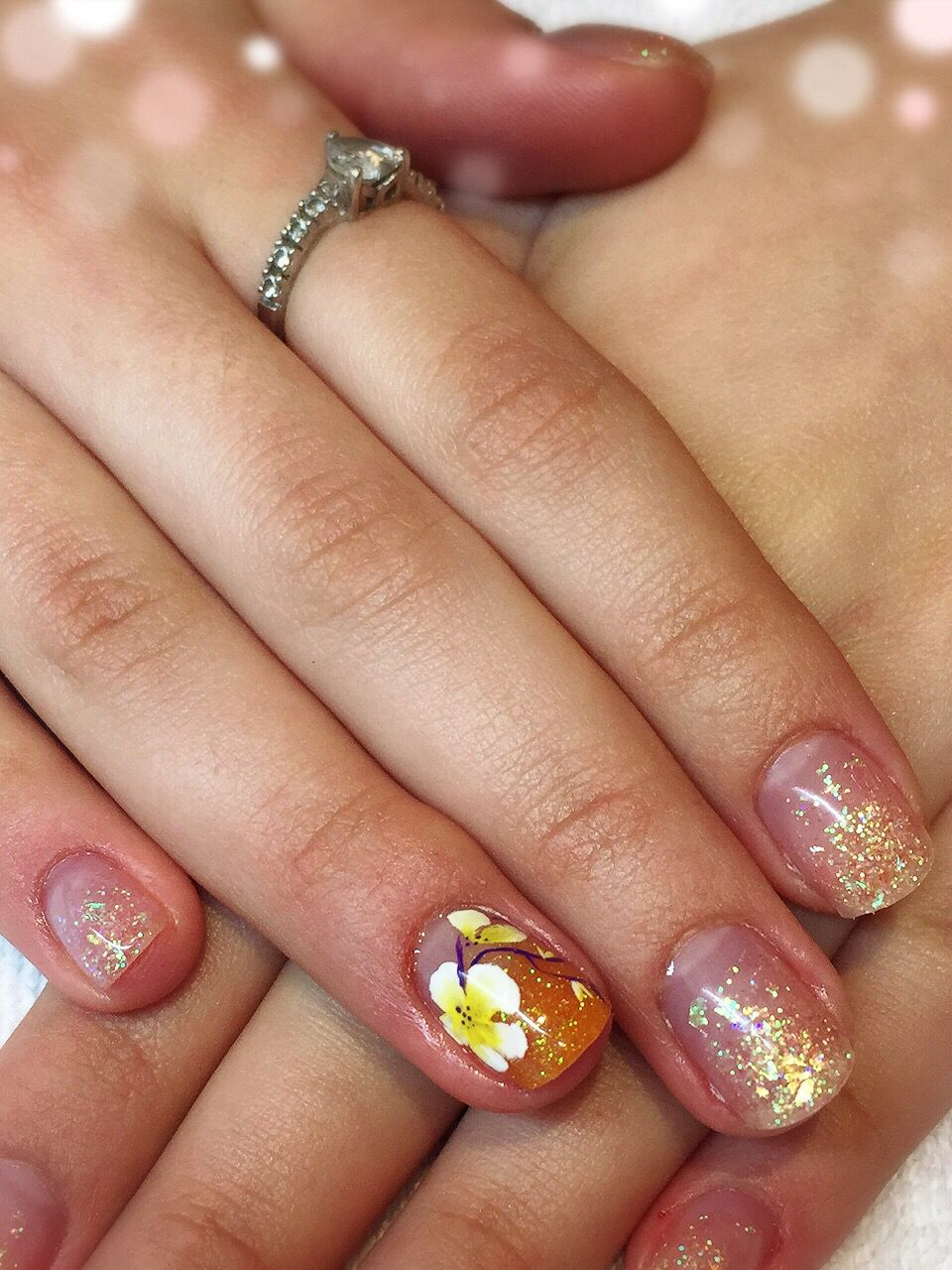 Acrylic Nails With Glitter Faiding And Hand Painted Flower Nail Art