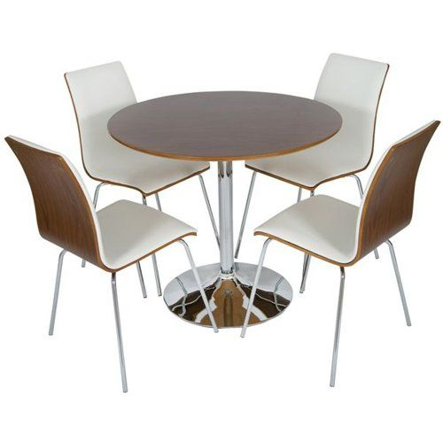 LEVV Round 4 Seater Dining Table Set Chrome Walnut With White