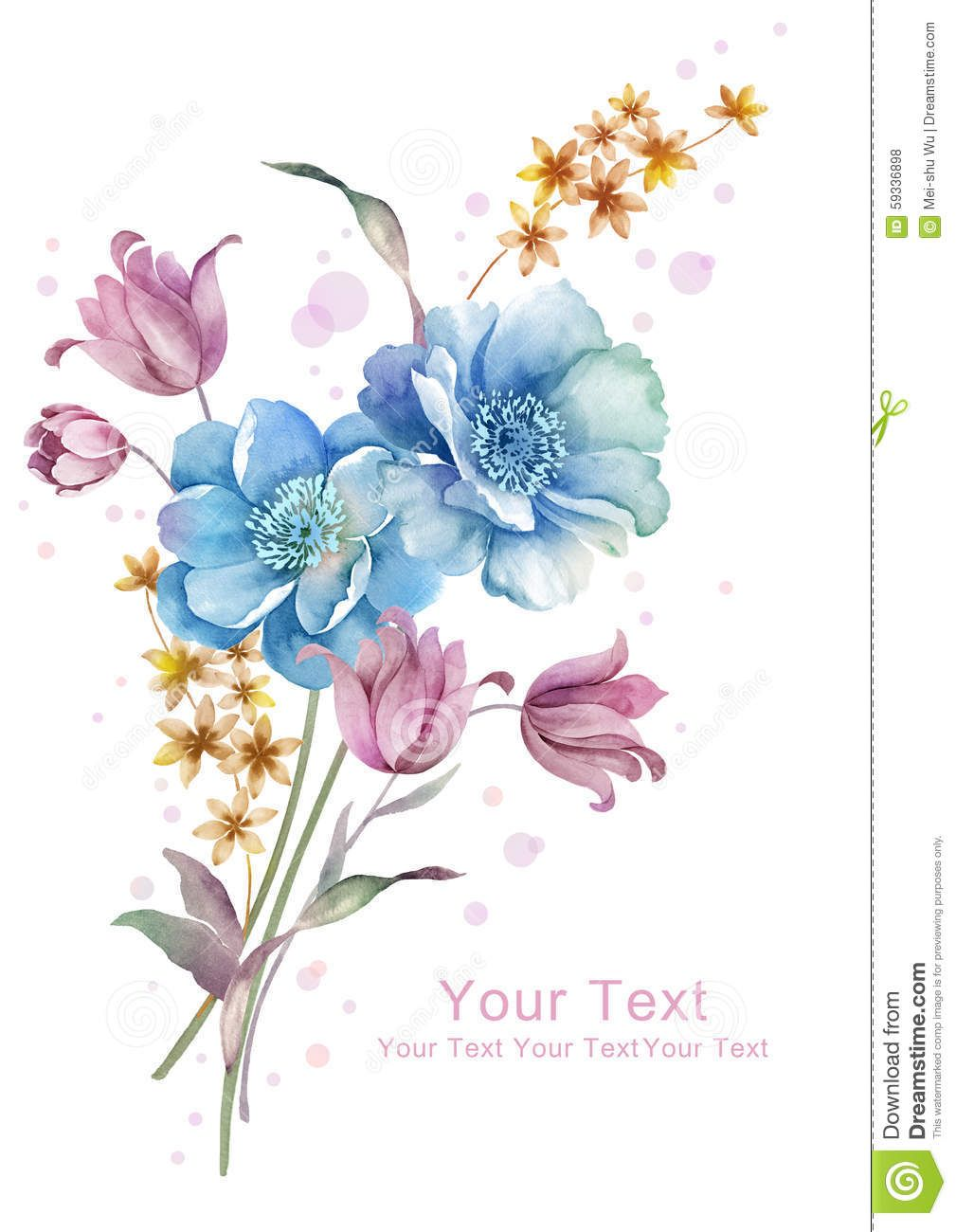 Watercolor Illustration Flower Bouquet In Simple Background Stock