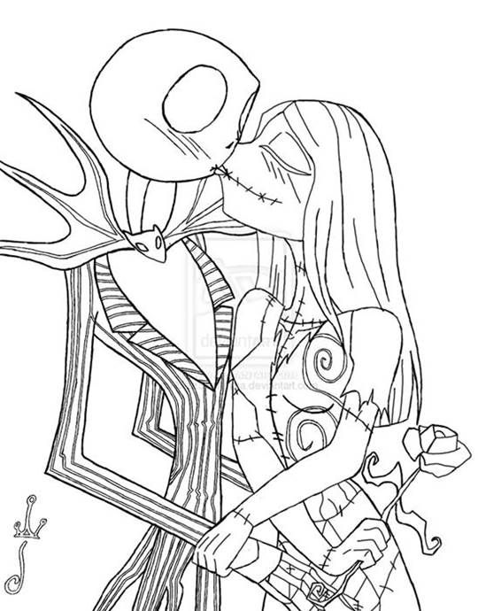 Jack And Sally Coloring Page S Nightmare Before Christmas Tattoo