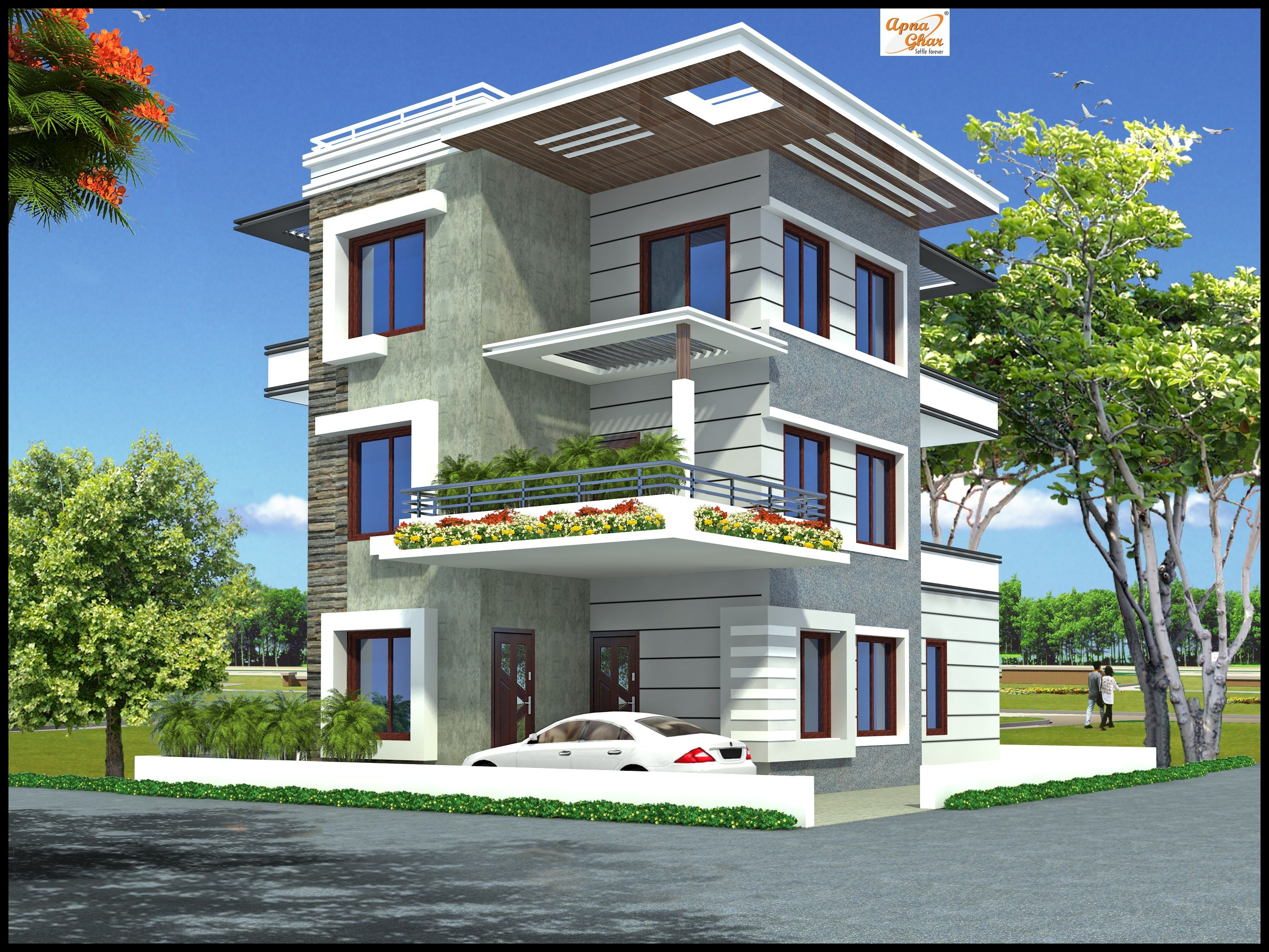 5 bedroom modern 3 floor house design area 192 sq mts for House elevation for three floors building