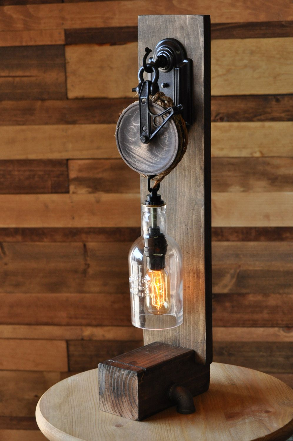 Steampunk Desk Lamp The Chandler Recycled Glass Bottle