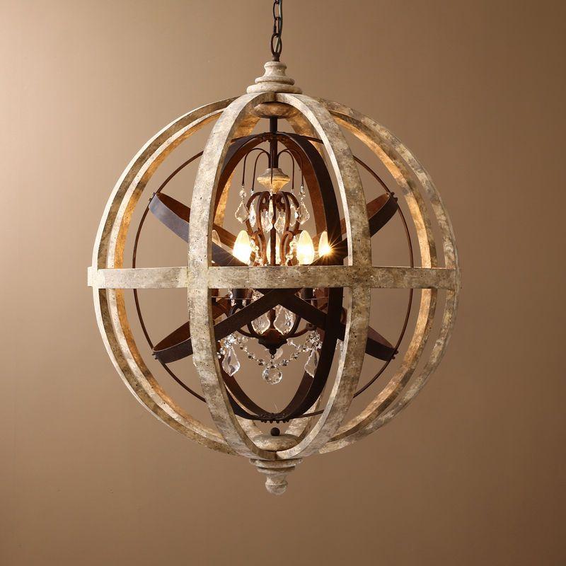 Rustic Wooden Globe Pendant Lighting Metal ORB Crystal Light - Kitchen pendant lighting ebay