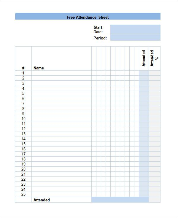Attendance Sheet Templates  Sample Templates   Pinteres