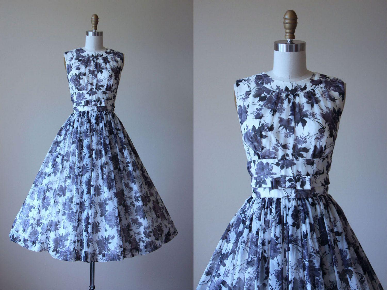 1950s Party Dress - Vintage 50s Dress - Black White Rose Print Bust ...