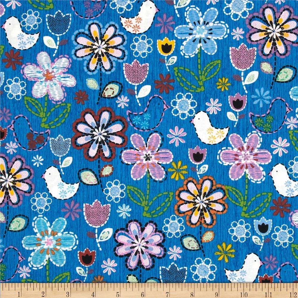 Stitches In Bloom Bird Floral Blue