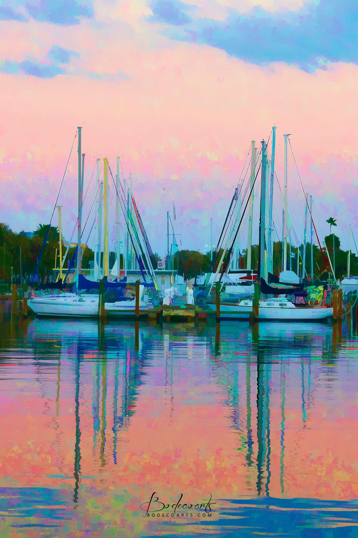 St. Petersburg, Florida sailboats in the marina at sunset