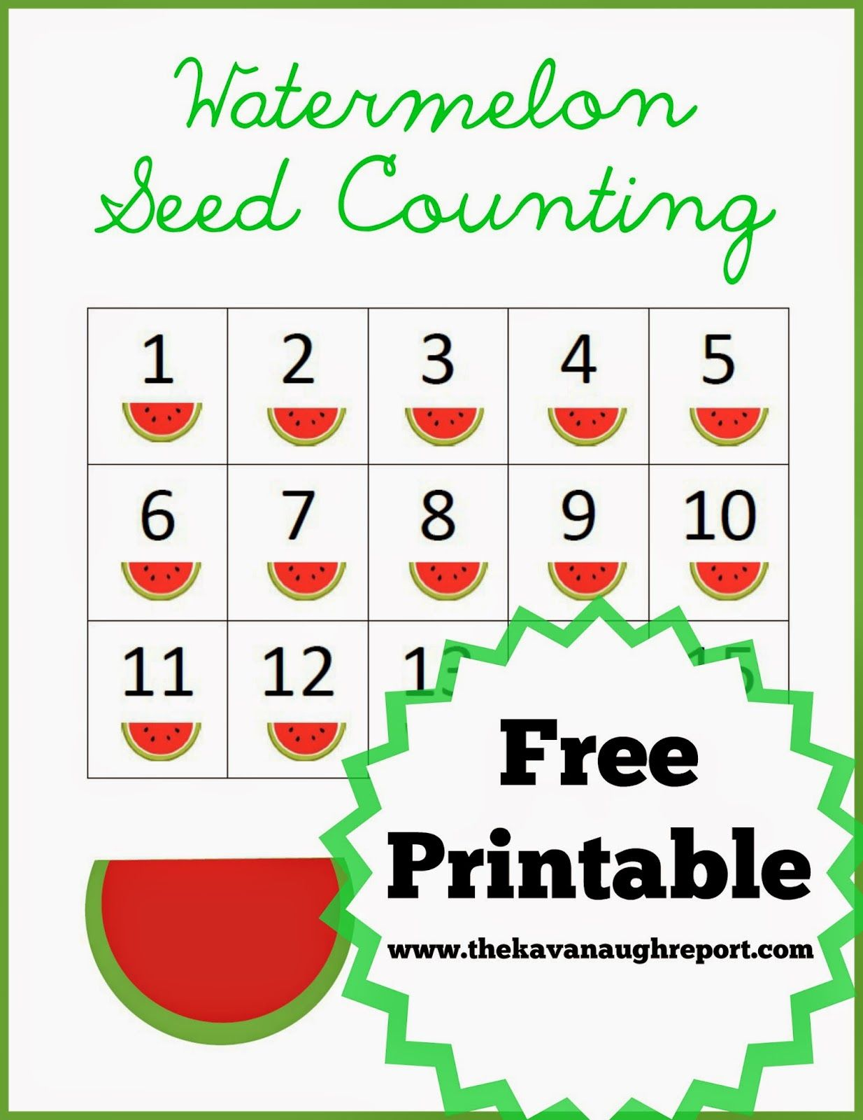 Watermelon Seed Counting Free Printable from The Kavanaugh