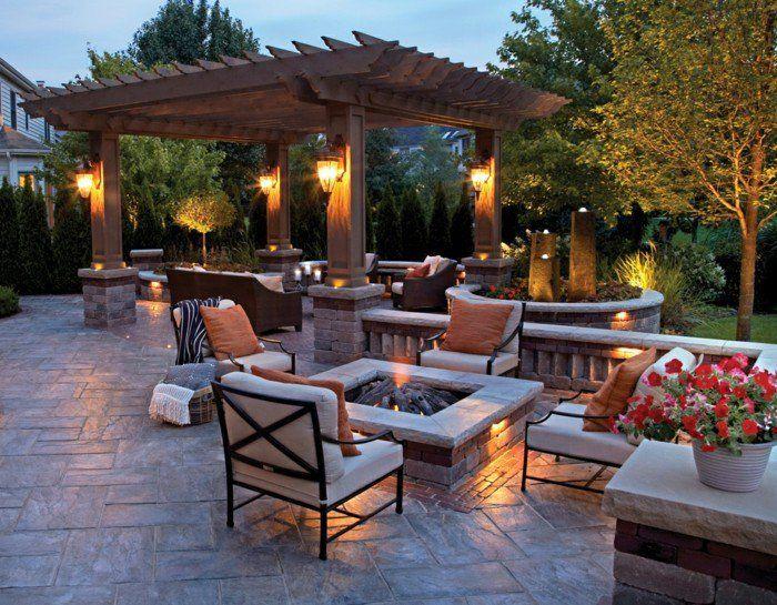 Garten Sitzecke 99 Ideen Wie Sie Ein Outdoor Wohnzimmer Gestalten Terrassengestaltung Garten Terrasse Feuerstelle Im Freien