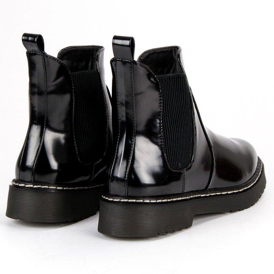 Small Swan Lakierowane Sztyblety Czarne Boots Winter Boot Shoes