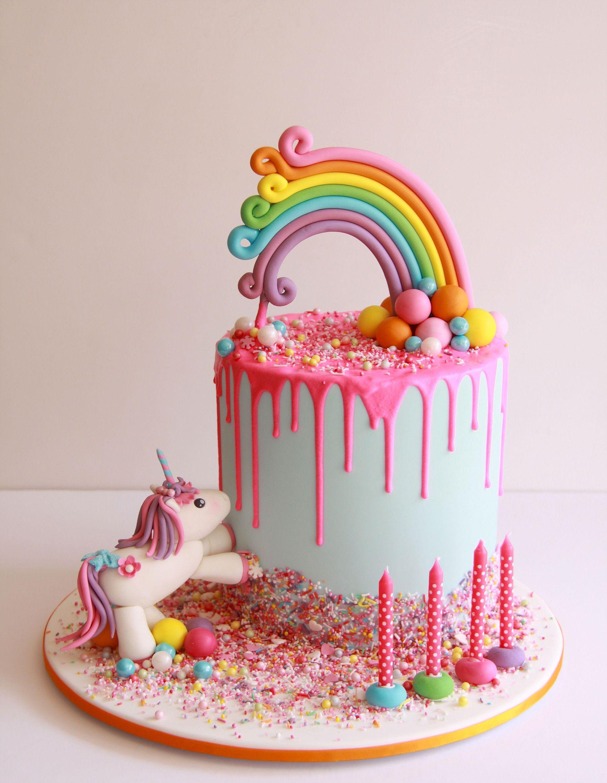 Rainbow Unicorn Drip Cake 1 Birthday Cake Kids Girls Rainbow Unicorn Cake Girl Cakes