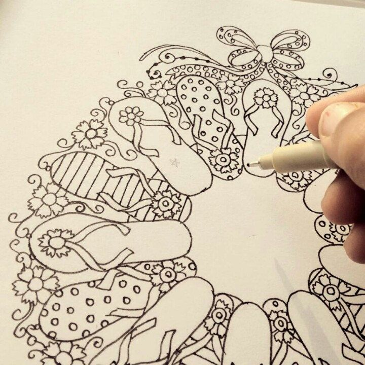 Making of new coloring page. Cute flip flop wreath. Perfect to relax ...