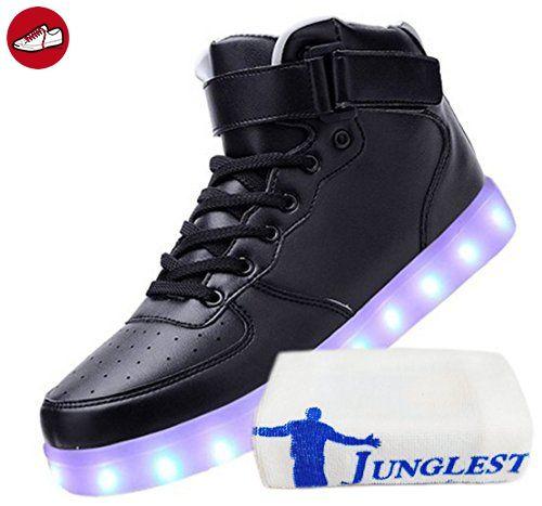 [Present:kleines Handtuch]Schwarz EU 45, Schuhe USB Farbe Herren Unisex LED Leuchtend Damen Sneaker High-top JUNGLEST® Sport Turnschuhe Auflad