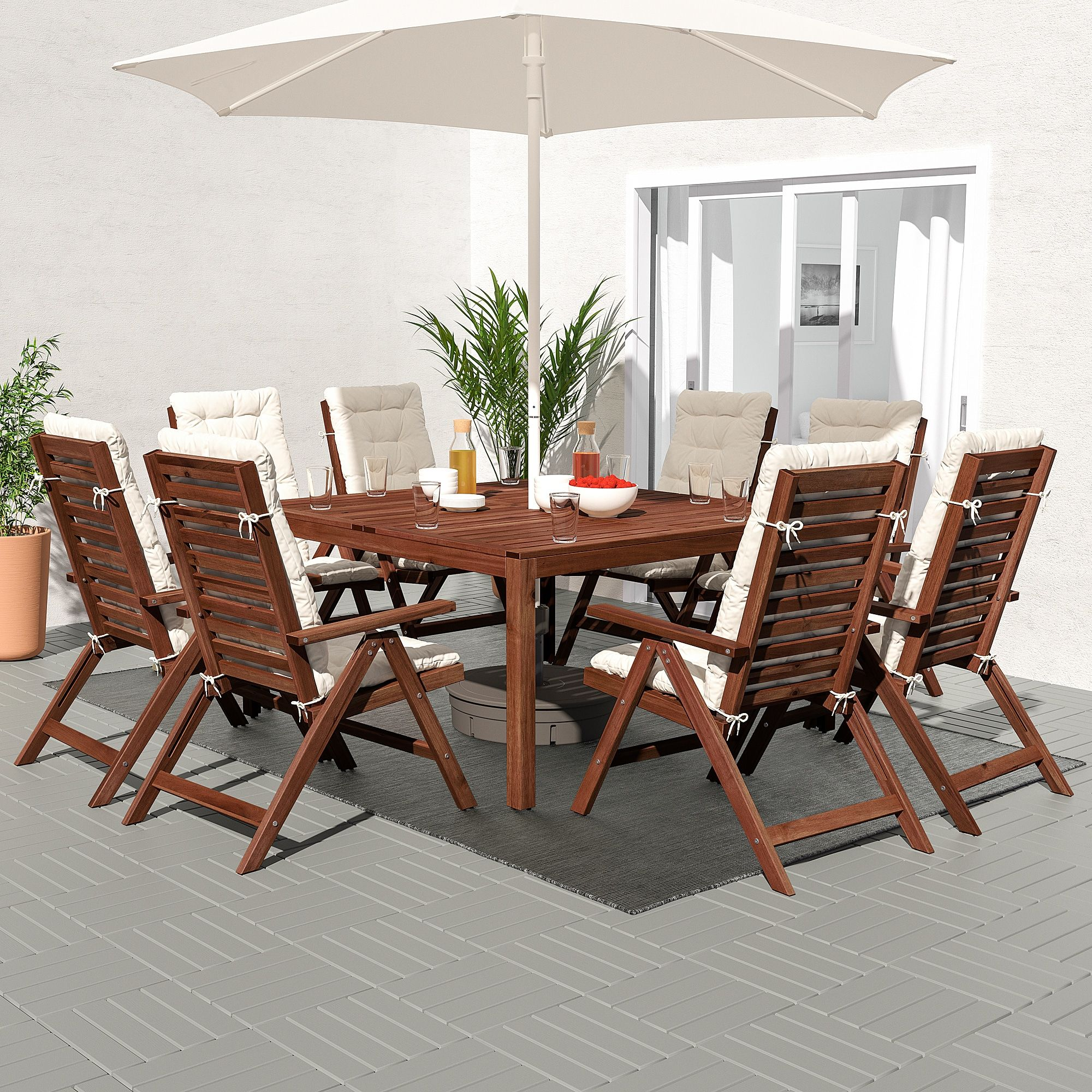 Superb Applaro Table 8 Reclining Chairs Outdoor Brown Stained Machost Co Dining Chair Design Ideas Machostcouk