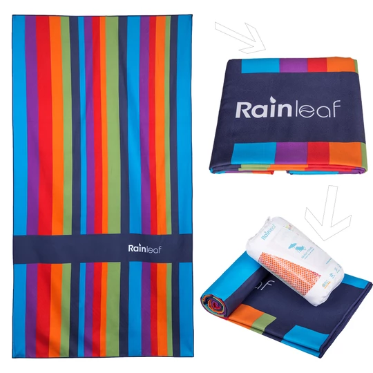 Rainleaf Microfiber Rainbow Towel Perfect Beach Travel Towel