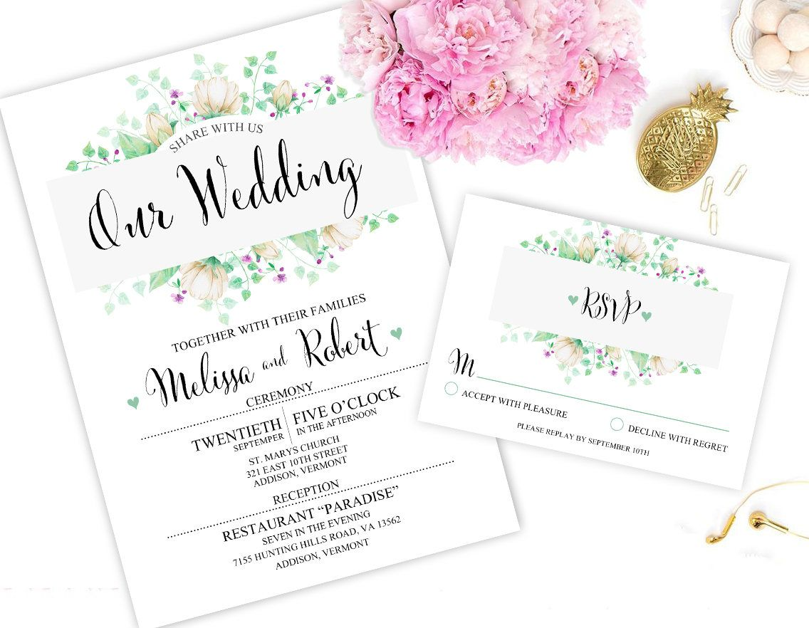 Digital Wedding Invitation Green, Flower, Leaves, Digital Invitation ...