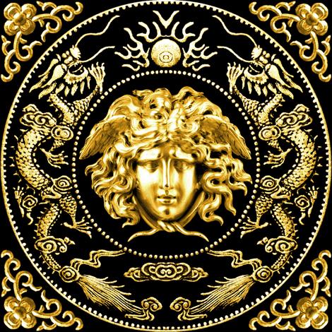 Colorful Fabrics Digitally Printed By Spoonflower 1 Gold Medusa Baroque Rococo Black Gold Flowers Floral Filigree Clouds Dragons Sun Fire Flames Pearl Asian J Greek Mythology Art Greece Mythology Art