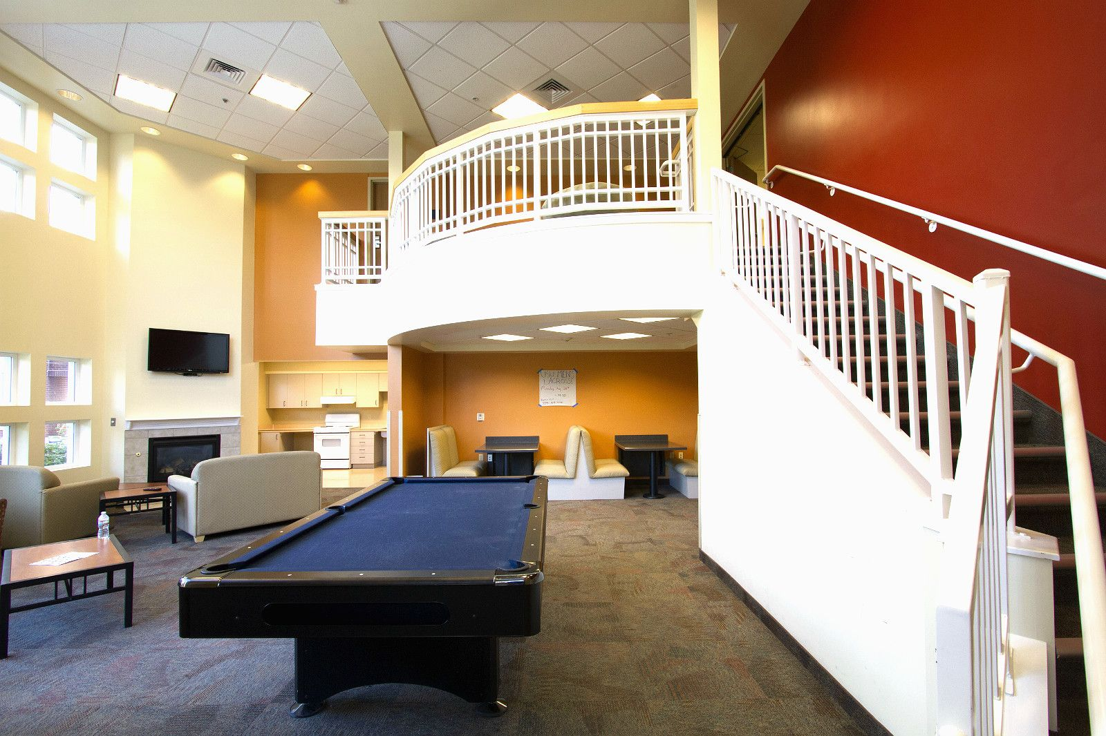 Each floor has a sweet lounge area with a flat screen TV, gas fire ...