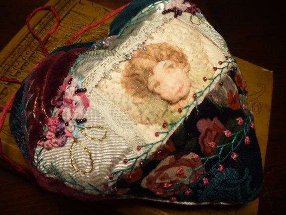 Handmade Fibre Art Small Decor Pillow Embroidered Embellished Floral Silk Ribbon Flowers