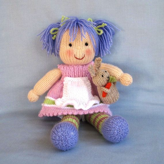 40411aac1d5987 Lucy Lavender and bunny knitting pattern Pdf INSTANT by dollytime ...