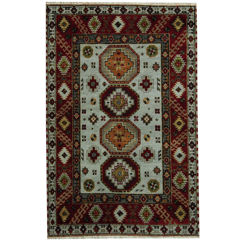 Herat Oriental Indo Hand-knotted Tribal Kazak Gray/ Red Rug