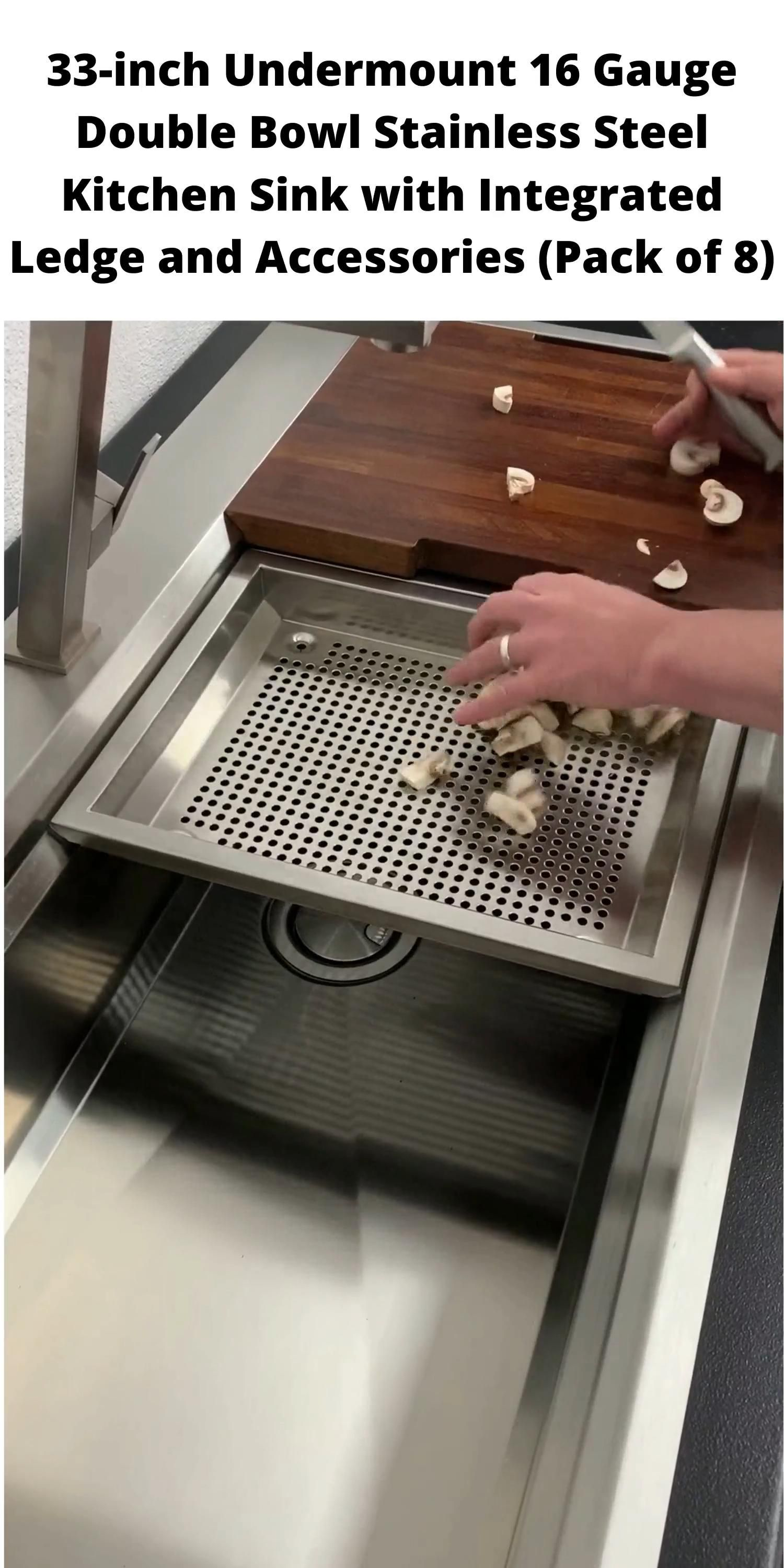 33-inch Undermount 16 Gauge Double Bowl Stainless