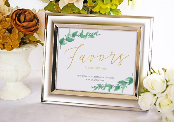 Greenery Wedding Favors Sign, Wedding Signage Printable Template, Wedding Guests Favors Signage Templates, Wedding Signs Decor : IDB014O